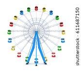 ferris wheel on white... | Shutterstock . vector #611687150