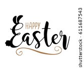 happy easter egg hunt in hand... | Shutterstock .eps vector #611687543