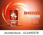 Energy drink on sparkly and shiny backdrop.Contained in orange can template,with element surrounds.For web site,poster,placard,wallpaper and flyer.Also useful for ads,advertisement and social network | Shutterstock vector #611690378