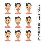 set of male emoji characters.... | Shutterstock .eps vector #611690633