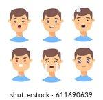 set of male emoji characters.... | Shutterstock .eps vector #611690639