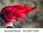 red purple flying hair