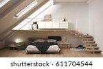 loft mezzanine scandinavian... | Shutterstock . vector #611704544