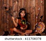 little girl disguised as an... | Shutterstock . vector #611708378