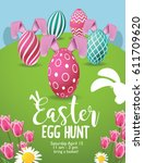 easter egg hunt background with ... | Shutterstock .eps vector #611709620