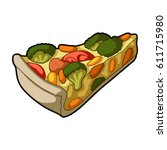 pie of vegetables without meat... | Shutterstock . vector #611715980