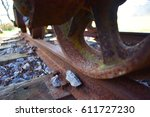 Rusty Train Wheel On The Track