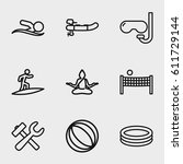 activity icon. set of 9... | Shutterstock .eps vector #611729144