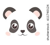 cute panda face isolated on... | Shutterstock .eps vector #611740124