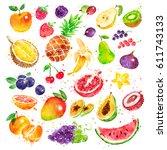 hand drawn watercolor...   Shutterstock . vector #611743133