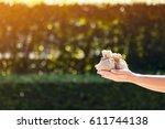 women hands hold a money bags... | Shutterstock . vector #611744138