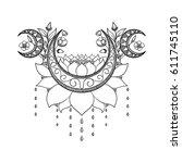 vector hand drawn tattoo design.... | Shutterstock .eps vector #611745110