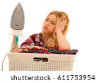 tired woman with a basket of...   Shutterstock . vector #611753954