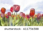 Abstract  Tulips Watercolor...