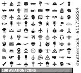 100 aviation icons set in... | Shutterstock .eps vector #611758334