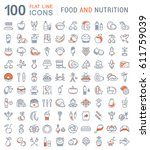 big set  line icons meal ... | Shutterstock . vector #611759039