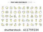 set  line icons in flat design... | Shutterstock . vector #611759234