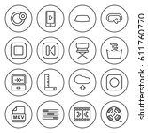 set of 16 web outline icons... | Shutterstock .eps vector #611760770