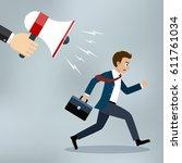 hand of manager or boss holding ... | Shutterstock .eps vector #611761034