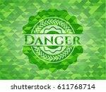 danger green emblem with mosaic ... | Shutterstock .eps vector #611768714