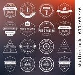 set of badges and logos cycling.... | Shutterstock . vector #611769776