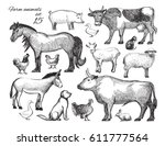 farm animals doodle set for... | Shutterstock .eps vector #611777564