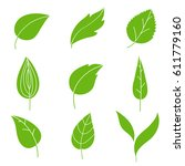 green abstract leaf icons set | Shutterstock .eps vector #611779160