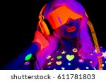 glow uv neon sexy disco female... | Shutterstock . vector #611781803