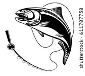 salmon fishing emblem isolated... | Shutterstock .eps vector #611787758