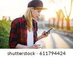 hipster girl enjoy music and...   Shutterstock . vector #611794424