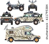 vector set of land vehicles for ... | Shutterstock .eps vector #611795384