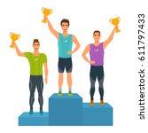 boys stand on podium  awarded...   Shutterstock .eps vector #611797433