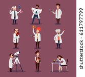 scientists characters set with... | Shutterstock .eps vector #611797799