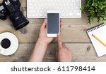 top view journalist office desk ... | Shutterstock . vector #611798414