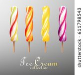 realistic popsicles colorful... | Shutterstock .eps vector #611798543