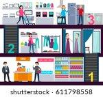 shopping center infographic... | Shutterstock .eps vector #611798558
