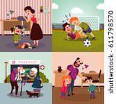 colorful family violence... | Shutterstock .eps vector #611798570