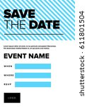 save the date invitation design.... | Shutterstock .eps vector #611801504