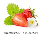 strawberries with leaves and... | Shutterstock . vector #611807684