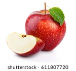 red apple fruit with green leaf ... | Shutterstock . vector #611807720