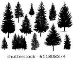 set. silhouette of pine trees.  | Shutterstock . vector #611808374