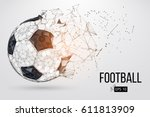 silhouette of a football ball.... | Shutterstock .eps vector #611813909