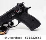pistol and bullet 9 mm. black... | Shutterstock . vector #611822663