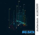 vector abstract 3d big data... | Shutterstock .eps vector #611825099
