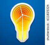 windmill within lightbulb shape.... | Shutterstock .eps vector #611825324