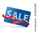 credit card with red ribbon on... | Shutterstock .eps vector #611826308