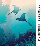 silhouette of two mantas and... | Shutterstock .eps vector #611835710