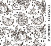 black and white fresh... | Shutterstock .eps vector #611842736