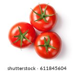 fresh tomatoes on white... | Shutterstock . vector #611845604