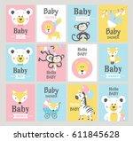 set of baby shower cards.... | Shutterstock .eps vector #611845628